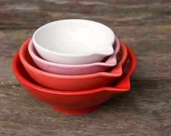 Measuring Cups, Red Ombré - dark to light - Bright Red to soft hint of Pink ready to ship - hand painted