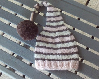 Elf,hat,pink,brown,cream,pom-pom,baby,girl,photo prop,photos,gift,shower,knit,infants,newborn-3months