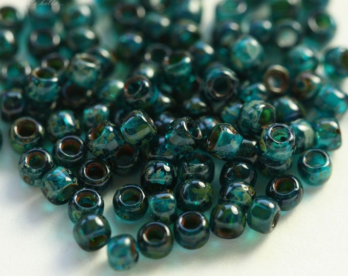 TEAL SEED BEAD No. 2.. 100 Glossy Picasso Czech Glass Seed Beads Size 8 (4638g-100)