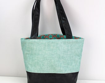 Lulu Medium Tote  Bag - Canal with PU Gray Leather - READY to SHIP   Purse Shoulder Straps 3 pockets Handbag Washable