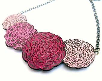 Pink Chrysanthemum Necklace, Chrysanthemum Flower Jewelry, Mum Necklace,Flower Bib Necklace, Wife Gift, Mom Gift, Daughter Gift from Mom,