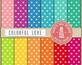 LOVE AND HOPE Digital Paper Hearts Paper Colorful Backgrounds Digital Scrapbooking 12 Jpg 300 dpi Files Download BUY5FOR8