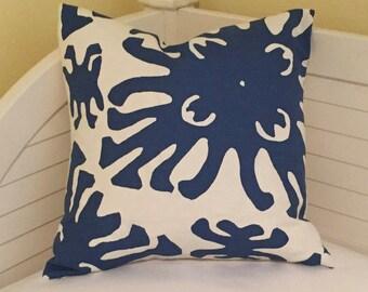 Quadrille China Seas Sigourney Navy and White Designer Pillow Cover, 20x20, Batik Pillow, Coastal Decor Pillow
