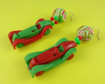 Miniature Toy Car Earrings - vintage style racing cars, red and green, retro kitsch driving test pass gift, driver's license congrats!
