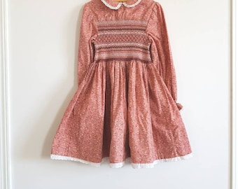 Vintage Girl's Long Sleeve Smocked Dress