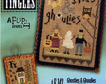Lizzie Kate Double Flip Tingles F142 - Ghosties Ghoulis, Haunted - Counted Cross Stitch Chart Pattern with Buttons