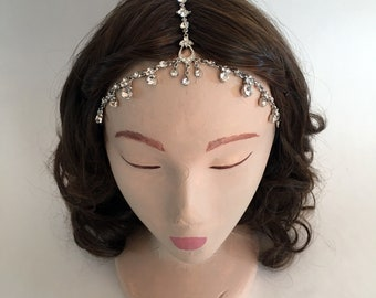 COACHELLA Silver Teardrop Pattern Crystal Gypsy Crown