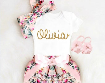 Baby Girl Clothes Newborn Girl Coming Home Outfit Personalized Baby Girl Outfits Boho Baby Girl Clothes Summer Newborn Girl Outfit Bloomers