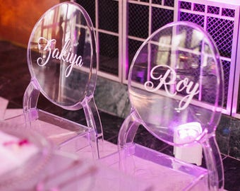 Name Ghost Chair Decal, Vinyl Chair Decal, Monogram Decal/Wedding Chair Sign/Chair Decal