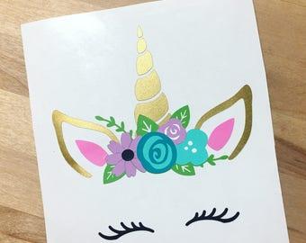 Floral Unicorn Vinyl Decal | Unicorn Decal | Car Decal | Yeti Decal | Magical Decal | Unicorn | Tumbler Decals | Unicorn Gifts |