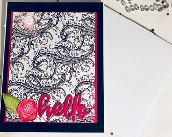 Blank Hello Note Card, Pink Foil Hello Card