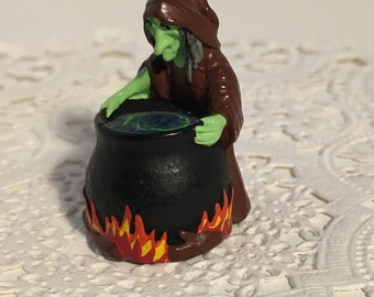 Pewter Witch Thimble Hand Painted