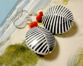 Shell Earrings coral maritime Zebra Sea