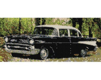 57 Chevy Vintage Car Tapestry Peyote Bead Pattern, wall art, Seed Beading Pattern Delica Size 11 Beads - PDF Instant Download