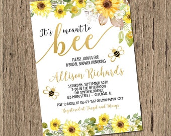 bee bridal shower invitation, meant to bee bridal shower invitation, yellow sunflowers spring bridal shower invitation, printable or printed