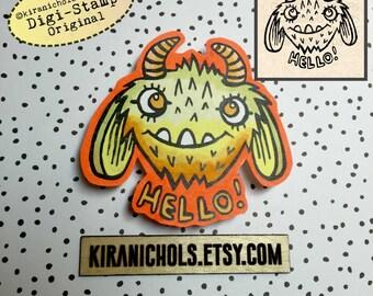 Monster Digital Stamp - Digistamp - Hello Monster Digital Stamp - Coloring Pages - Printable Sticker - Clip Art - Printables
