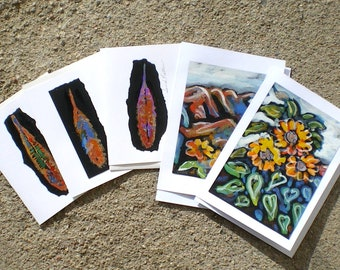 Flowers and feathers hand painted cards and paintings Taos Santa Fe Northern New Mexico Sunflowers sacred feather of victory