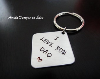 I Love You Dad Personalized Fathers Day Gift  Handstamped Key Chain Fob Ring
