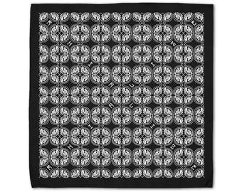 Rhialize Logo Bandanas / Head Accessories / Black Accessories / Black Bandana / Psychedelic Clothing / Geometric Clothing / Rave Clothing