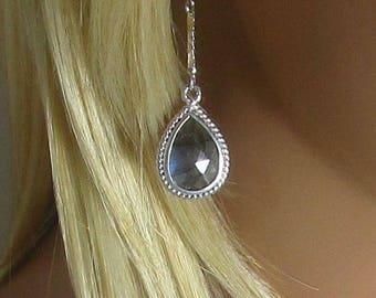 Labradorite Earrings, Drop Earrings, Double Sided, Long Drops, Teardrop Beads, Faceted Stone, Gold or Silver, Spectrolite