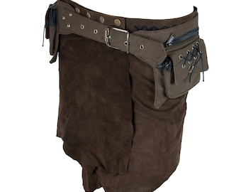 Steampunk utility belt - pocket belt, belt bag, fanny pack (strong fabric - padded cotton)  - Campe (0007)