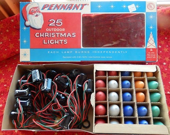 Outdoor christmas decorations etsy vintage pennant 25 outdoor christmas lights new in box 32 12 feet long aloadofball Images