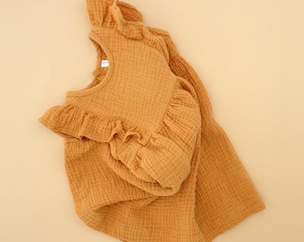 Handmade Organic Cotton Gauze Baby/Girl's Ruffled Sundress in Maize