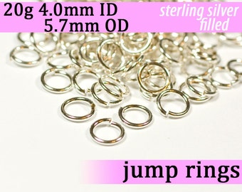 20g 4.0 mm ID 5.7 mm OD silver filled jump rings -- 20g4.00 jumprings
