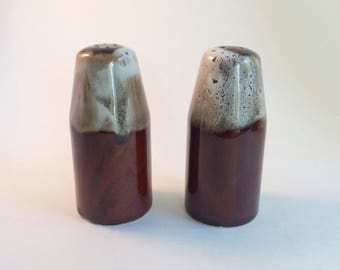 Vintage Brown Drip Salt and Pepper Shakers Retro 1960s