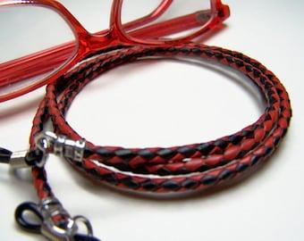 Leder-Brillen-Kette, rot/schwarz Geflecht, Schnur für Gläser, Custom Made 24-36 Inchs, Brillen Halter, Brillen-Kette