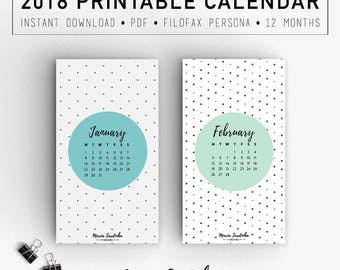 Printable Filofax Calendar 2018, Geometric Pattern Printable Calendar, 2018 Filofax, PDF Instant download