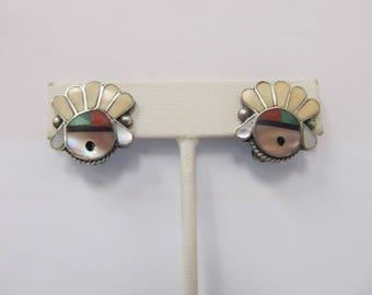 Vintage Sterling Silver Native American Handmade Earrings W #799