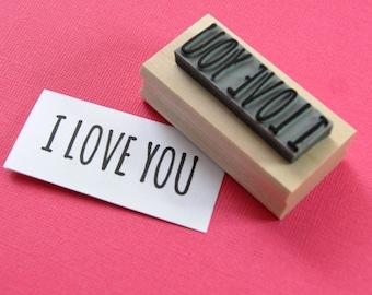 I Love You Sentiment Text Rubber Stamp - Love Stamper - Wedding Gift - DIY Wedding - Handmade Wedding Invites - Valentines - Couples gift