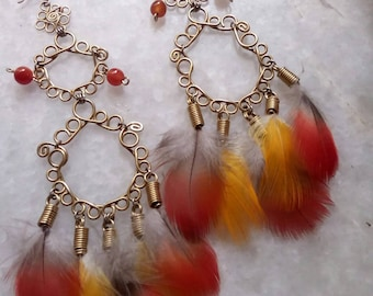 Tribal Style Macaw Feather earrings