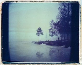 Norway, Old Polaroids, Mamiya, Polaroid Photography, Eerie, Cold, Misty, Lake, Woods, RB67, type 670, Landscape Photography, Tree, Norwegian