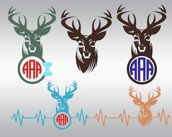 deer svg, Deer hunting svg, Deer Head svg, Deer antler svg, hunting svg, Heartbeat svg, Cricut, Cameo, Cut file, Clipart, Svg, DXF, Png, Eps