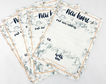 Change of address cards,Handmade,marble effect,Brush lettering,A6 cards,with Envelope,Personalised change of address,New Home,we've moved,