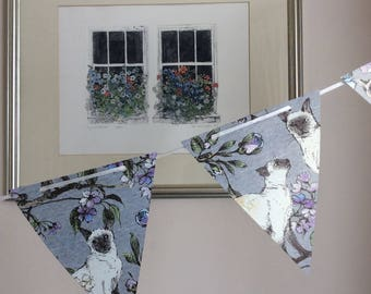 Siamese Cat Paper Bunting and card