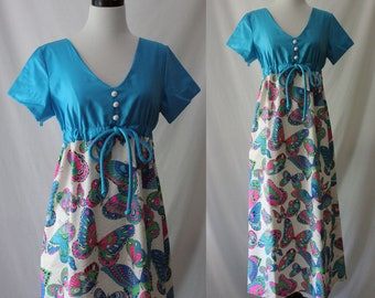 Vintage 60's Happy Neon Butterfly Maxi Bright and Fun