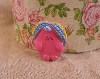Pink Unicorn Pin, Polymer clay Unicorn, pink unicorn brooch, Pink Fat Unicorn, chubby unicorn jewelry, cute unicorn jewelry, chubby unicorn