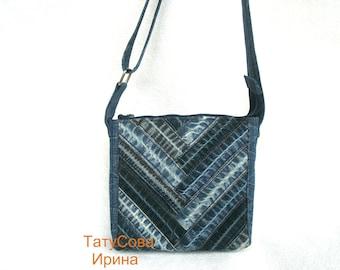 Denim bag, Handmade bag,  Recycled Jeans, Patchwork bag, Jeans bag, Bag, Denim blue bag, Small Crossbody Bag