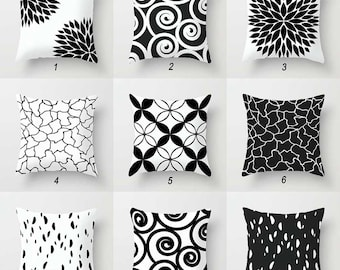 Black and White Pillow Covers, Decorative Throw Pillow Covers, Minimalist  Pillow, Couch Pillows, Mix and Match Pillows, Geometric Cushion