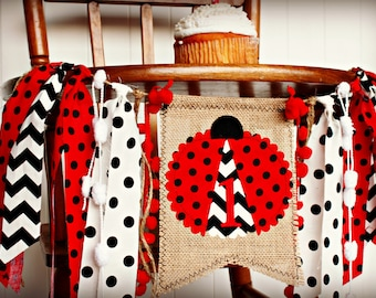 LADYBUG Birthday High Chair Highchair Banner Party Photo Prop Backdrop Cake Smash I Am One Lady Bug Red Black Picnic Garden First Custom