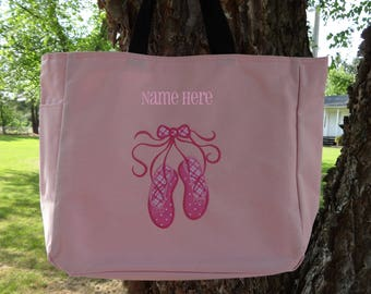 Personalized Girls Dance Bag, Ballet Tote Bag, Dance Tote, Pink Dance Bag, Pink Ballet Bag
