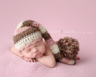Baby Girl Elf Hat in Pink, Brown, and Cream