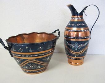 Turkish Copper Pitcher and Bowl Turkey