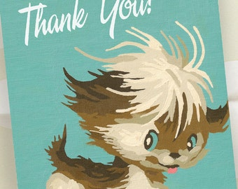 Thank You Notes - Set of 8 - Retro Puppy - Vintage Paint by Number - Ready to Ship