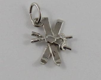 Skis & Poles Sterling Silver Vintage Charm For Bracelet
