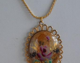 """Pretty Vintage Hand painted Porcelain Floral Pendant Necklace, Gold tone, 16"""""""
