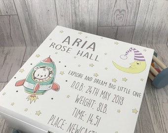 Rocket and moon personalised christening wooden box - printed - white gloss wooden box 24cmx24cm - baby gift - newborn gift
